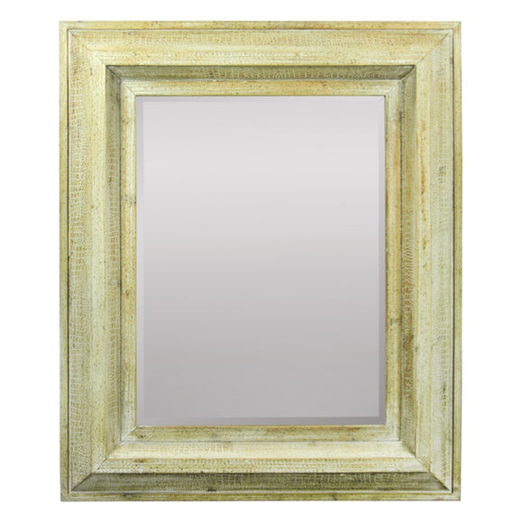 Rustically Naive Mirror In Wooden Frame, Brown