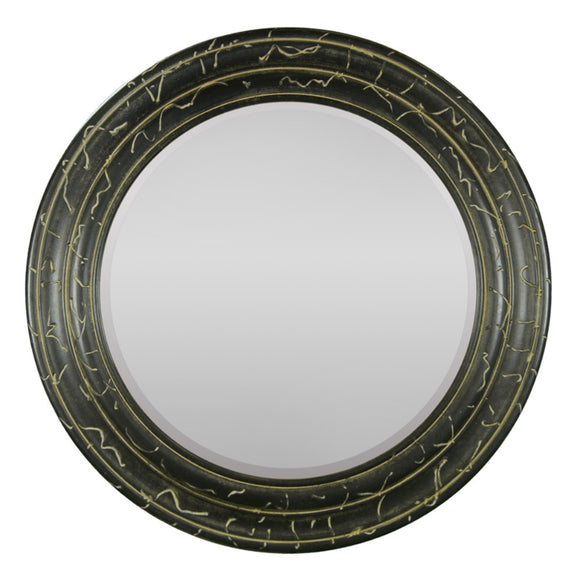Mirror In Round Wood Frame, Black
