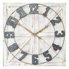 Distressed White Rustic Farmhouse Wall Clock