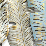 Distressed Large White Boho Metal Feather Wall Decor