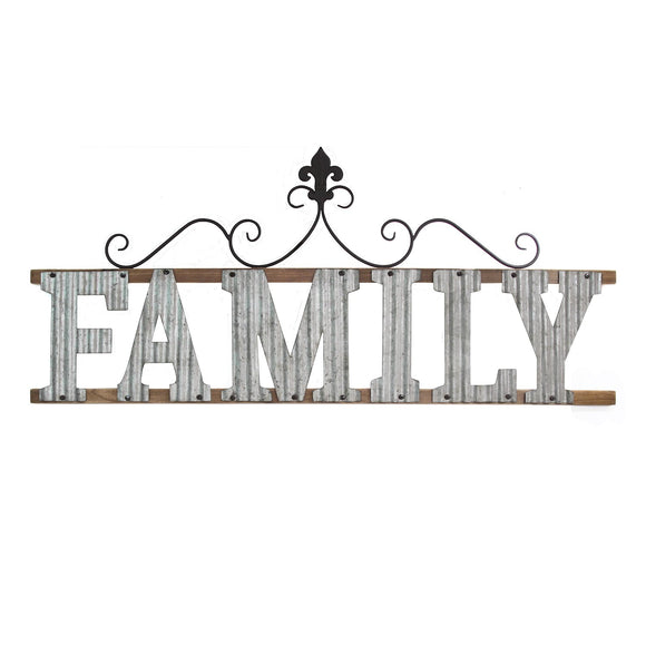 Mixed Media Galvanized and wood Family Wall Sign