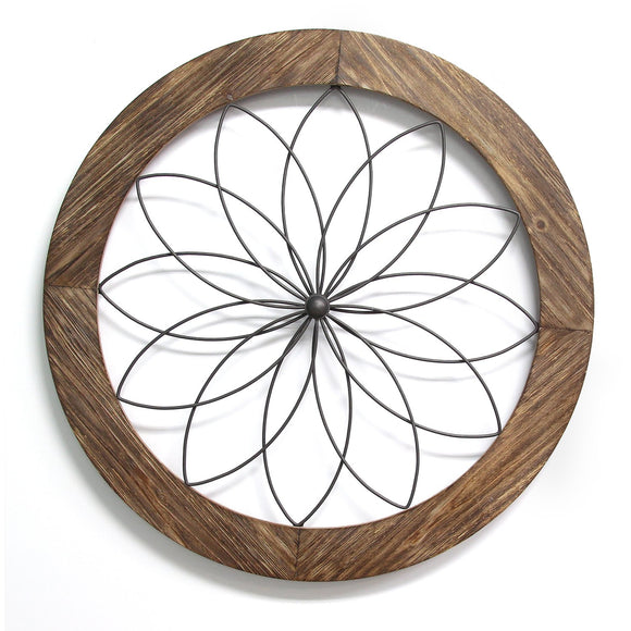 Round Wood And Metal Medallion Wall Decor