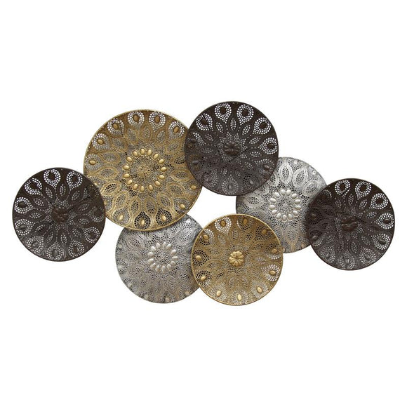 Boho Metal Plates Wall Decor Handcrafted