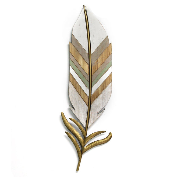 Large White Boho Wall Feather Handmade Metal Wall Decor