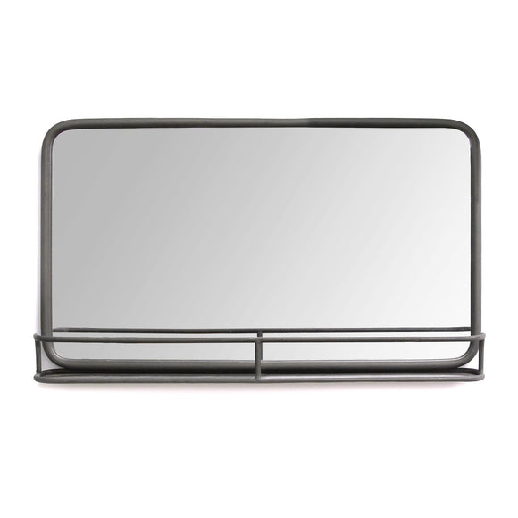 Gunmetal Metal Mirror With Shelf