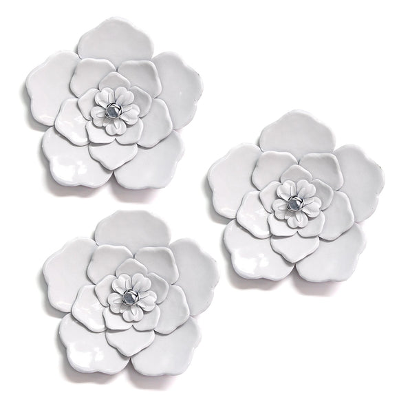 Farmhouse Chic Set of Rustic White Metal Wall Flowers