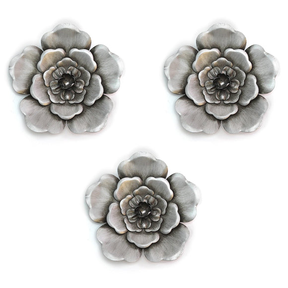 3Pcs Silver Metal Wall Flowers