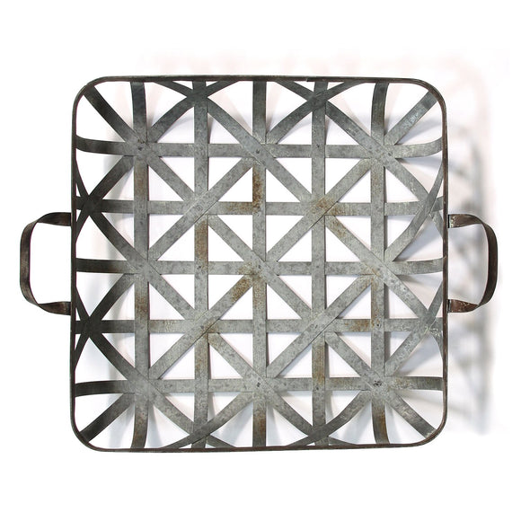 Galvanized Basket Weave Metal Farm Tray Functional Wall Decor