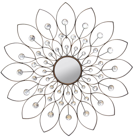 Black Decorative Flower Mirror Large