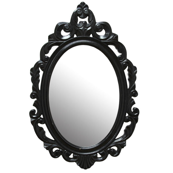 Oval Black Baroque Mirror