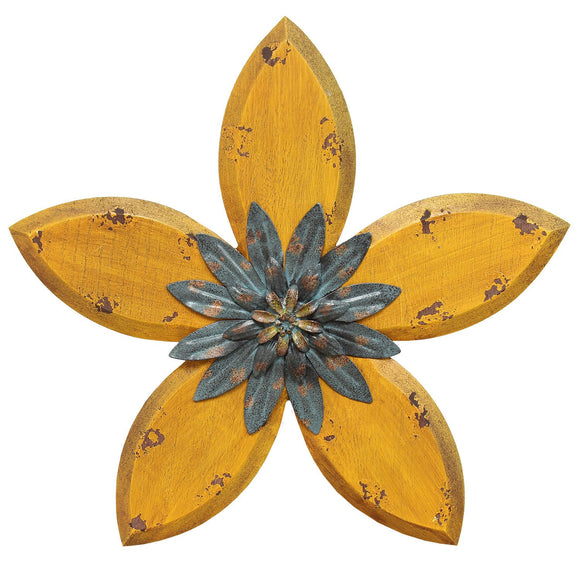 Yellow on Teal Antique Flower Wall Decor