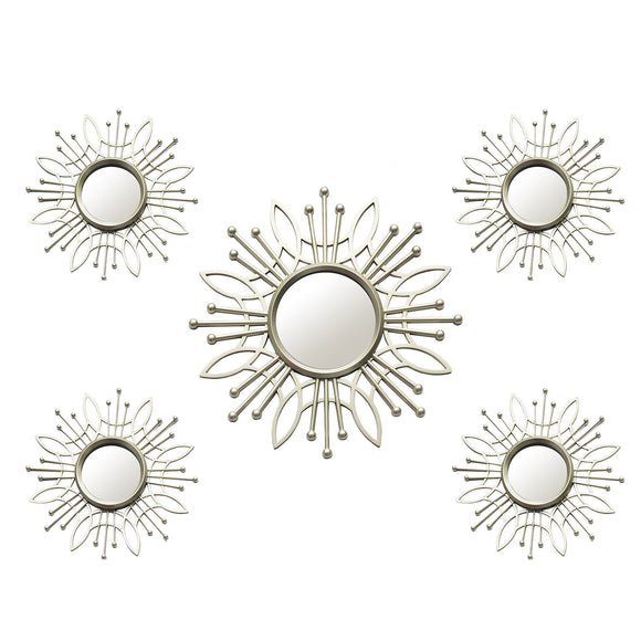 5Pcs Champagne Burst Wall Mirror