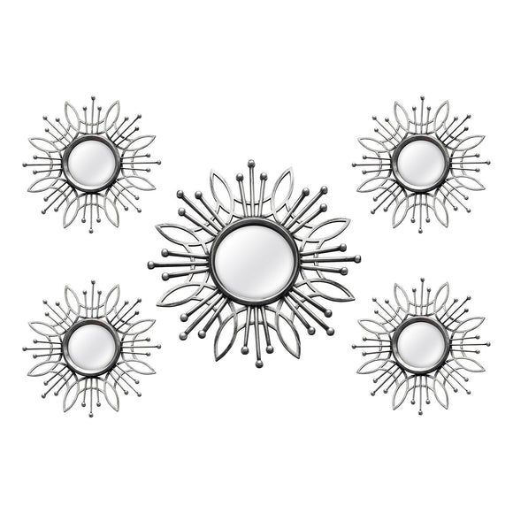 Silver Burst Wall Mirror Set 5 pcs
