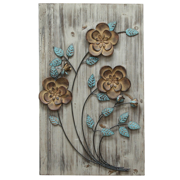 Rustic Floral Panel With Bronze And Teal Flowers Handcrafted