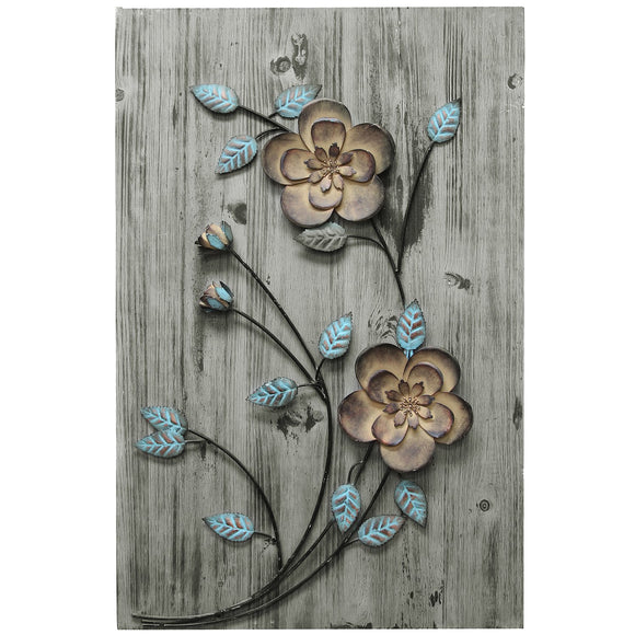 Mixed Media Rustic Floral Panel FarmHouse Chic