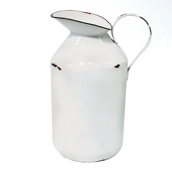Handcrafted Metal White Enamel Milk Jug