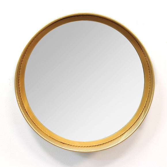 Handcrafted White, Gold Metal Mirror
