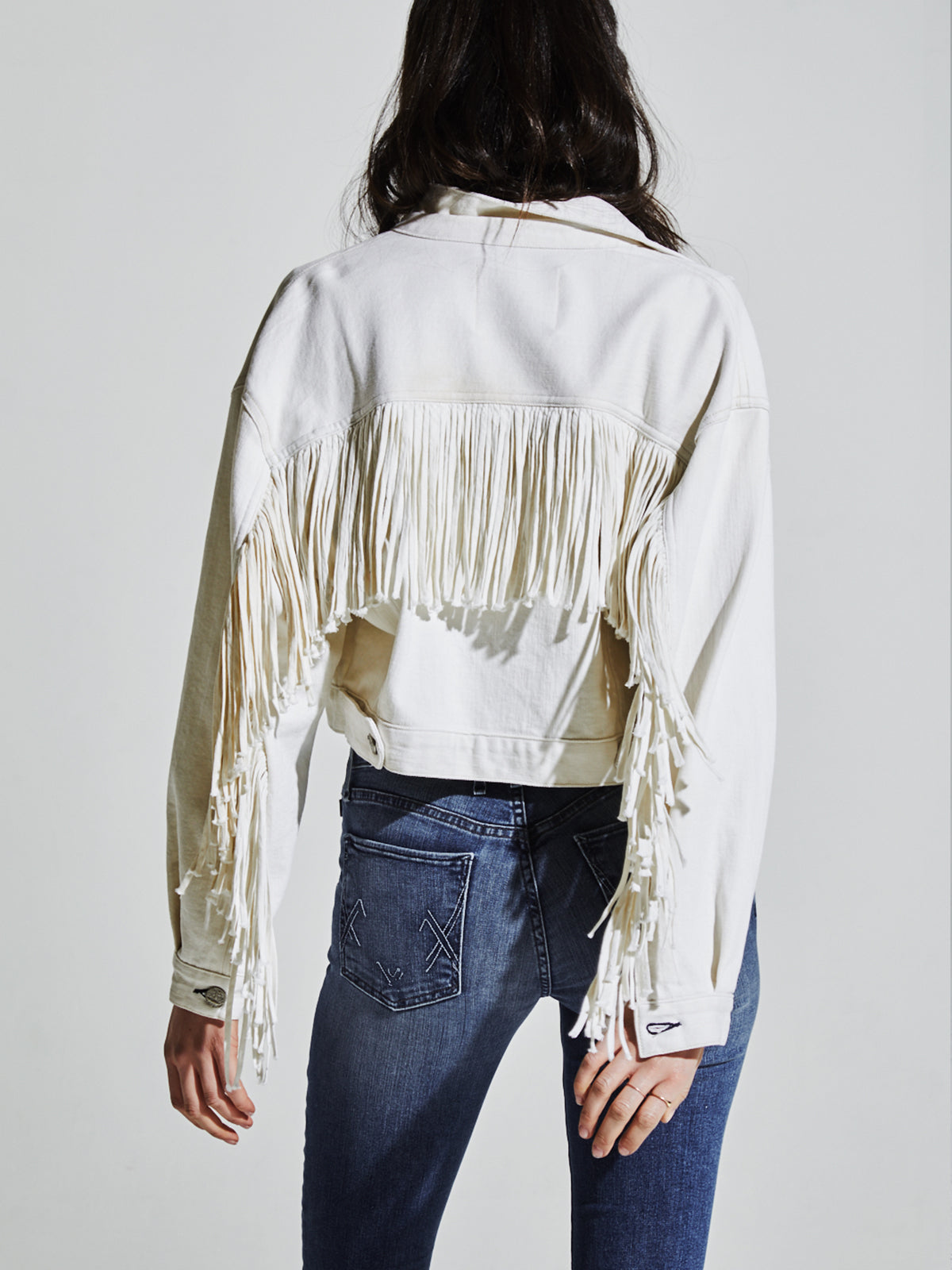 Can't Buy My Love Fringe Jacket in Bone