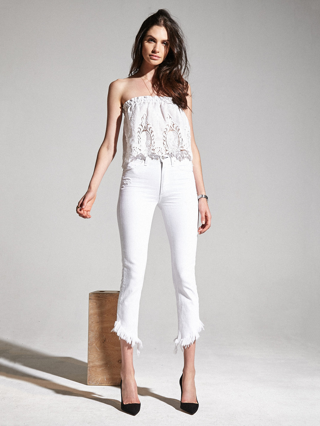 Cropped Valletta With Asymmetrical Hem in White Lie