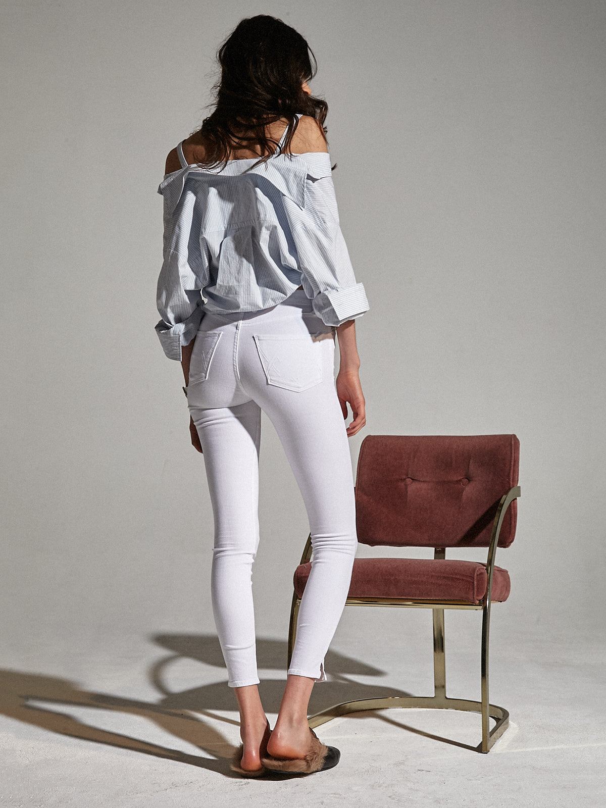 High Rise Skinny With Slit in White Lie