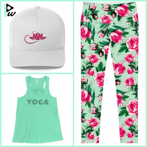 green yoga top floral green yoga pants and white cap