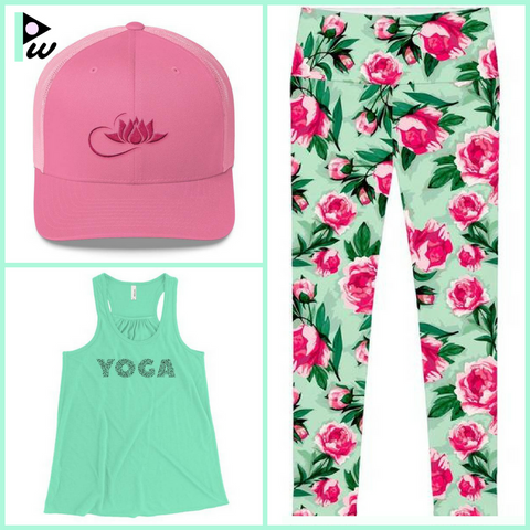 Floral pant with Yoga top, pink cap