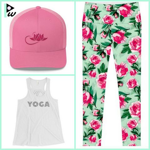 Floral yoga pants with white top and pink cap