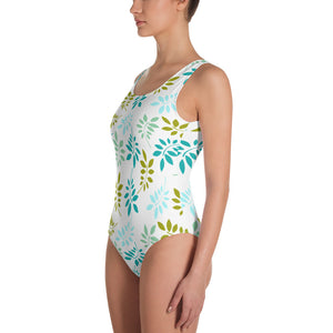 Green leaves pastel One-Piece Swimsuit