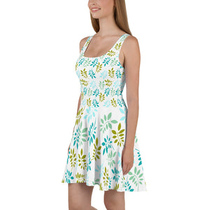 Green leaves pastel Skater Dress