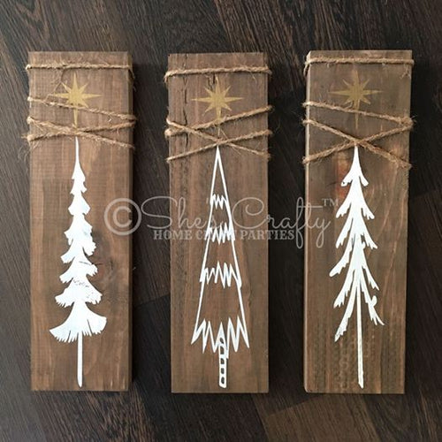 3 Rustic Christmas Trees Kit