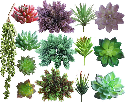Faux Succulent Picks Assortment w/ Foam Blocks