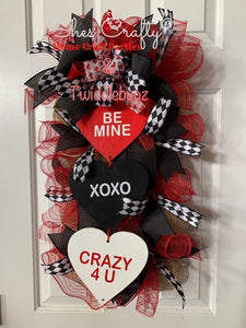 2020 Valentine Sign & Deco Mesh Rail Wreath Kit