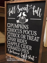 Fall Sweet Fall Checklist Kit