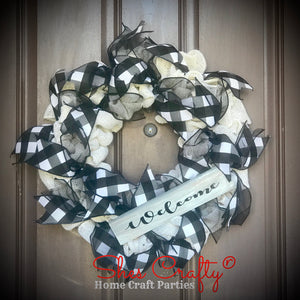 Welcome Burlap Wreath & Sign Kit