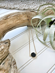 Short Black Druzy Stone Necklace
