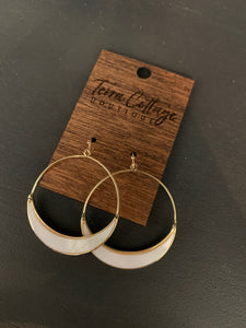 Opal-esque Gold Circle Earrings - Terra Cottage