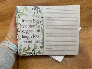 Dream Big Weekly Planner Notepad - Terra Cottage