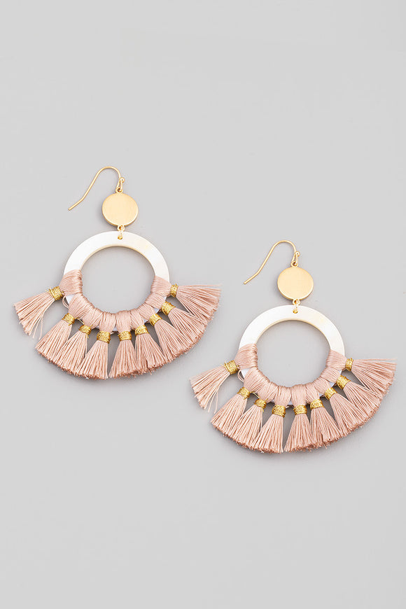 Pink Circle Tassel Drop Earrings
