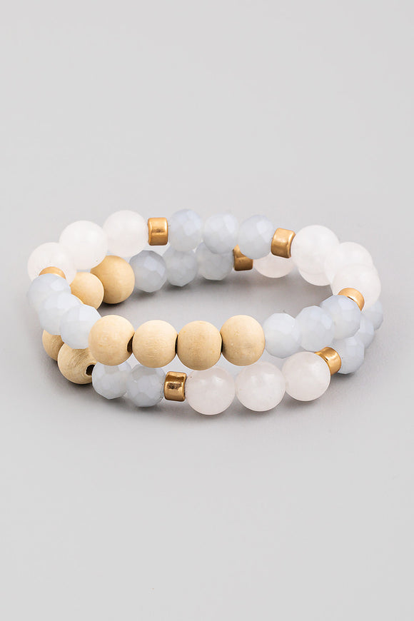 Stone Beaded Stretch Bracelet Set - White