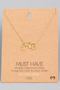 Bicycle Pendant Necklace - Gold