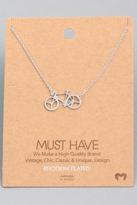 Bicycle Pendant Necklace - Silver