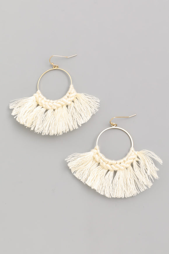Threaded Fan Drop Earrings