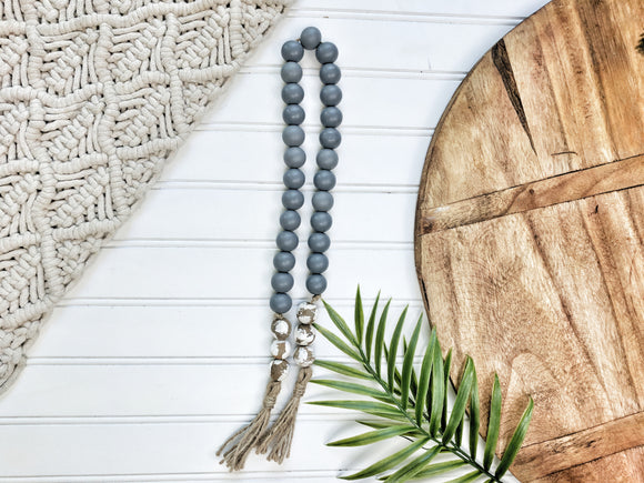 Gray and Chippy White  Bead Garland