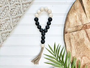 Black and Raw Wood Boho Bead Loop