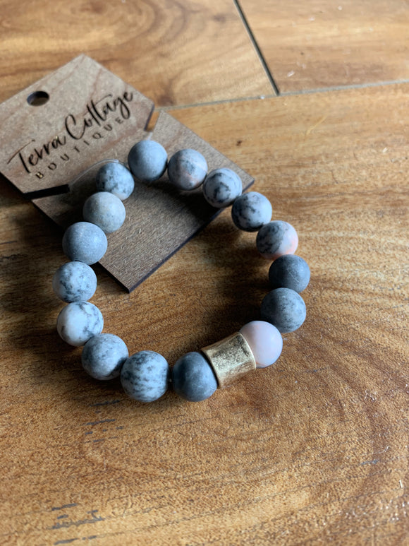 Grey and Peach Stone Bracelet - Terra Cottage