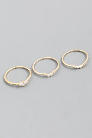 Dainty Marquise Metal Ring Set - Gold