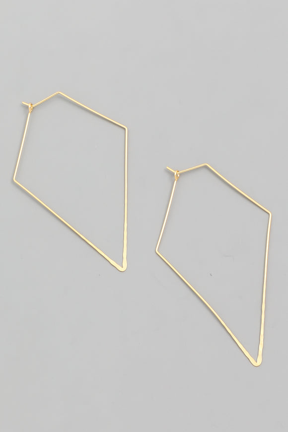Diamond Shape Wire Hoop Earrings - Gold