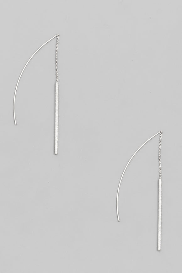 Threader Textured Bar Earrings - Silver