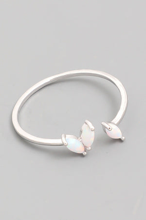 Delicate Opal Fashion Open Ring - Silver