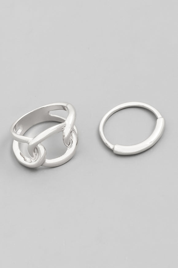 Chain Link Two Piece Ring Set